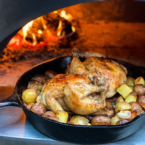 Cornish Hens cooked in wood fired oven
